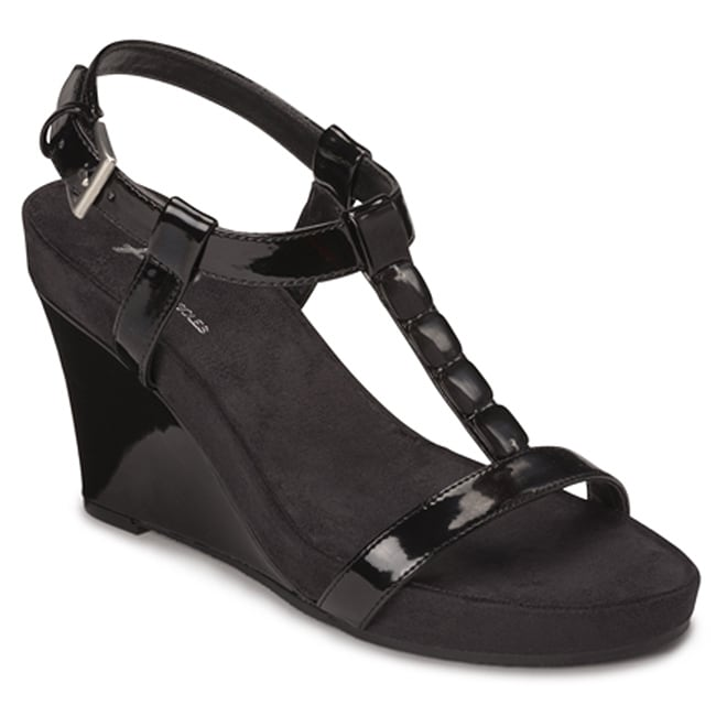 A2 by Aerosoles Women's 'Rose Plush' Black Patent Wedge Sandals