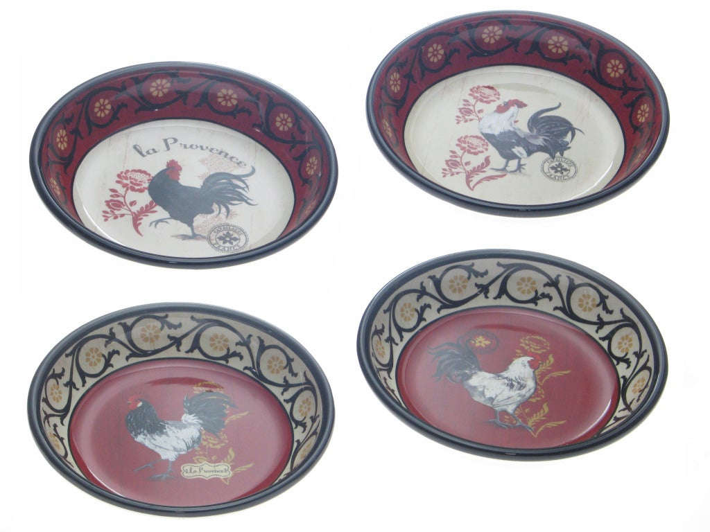 Certified International 'La Provence Rooster' 9.5-inch Soup Bowls (Set of 4)