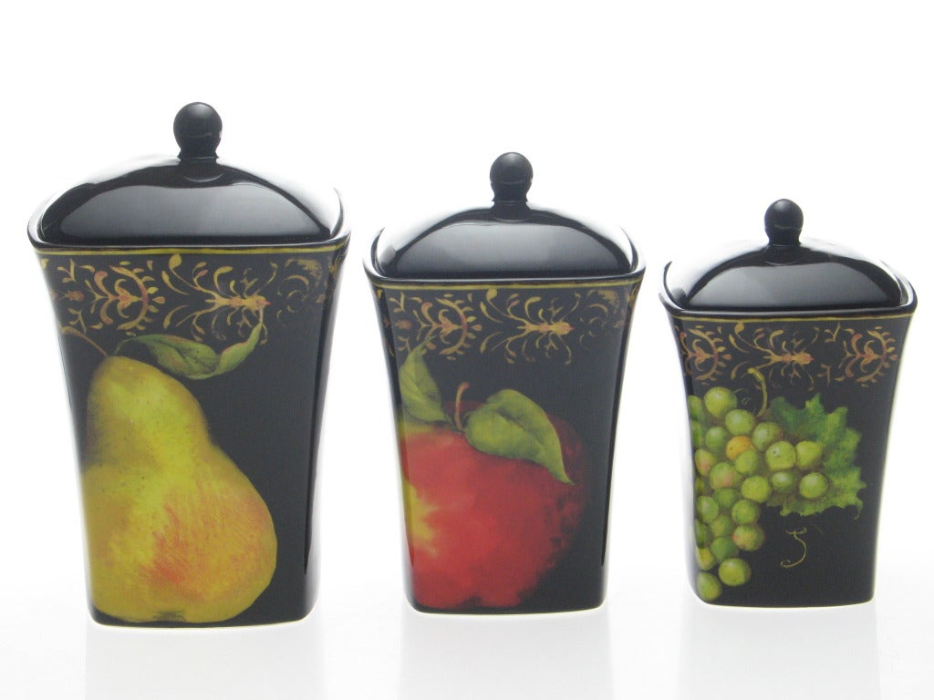 Certified international parisian fruit canister by susan winget set - Certified International Fruit Filigree 3 Piece Canister Set