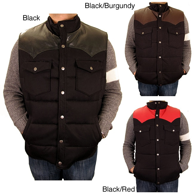 Hudson Outerwear Men's Big and Tall Cotton Leather Yoke Quilted Vest