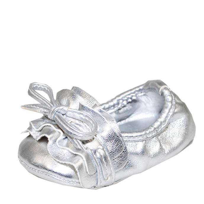 Baby Girl Silver Glam Fashion Crib Shoes