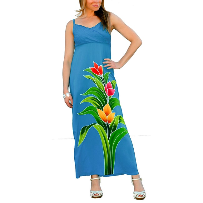 Women's Turquoise V-Neck Floral Maxi-Dress (Indonesia)