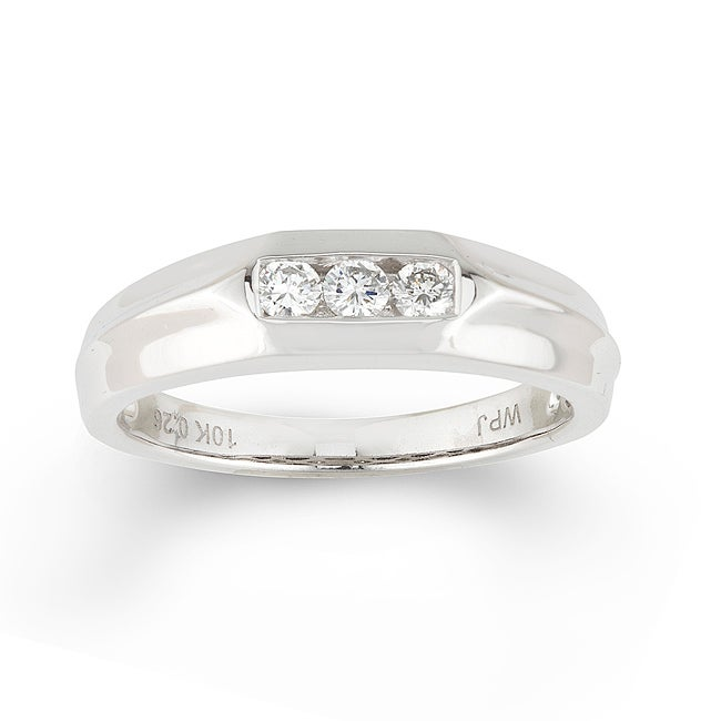 10k White Gold Men's 1/4ct TDW Round Diamond Ring (H-I, I1-I2)