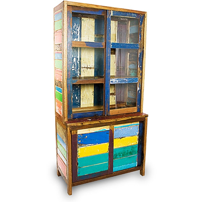 Ecologica Furniture Reclaimed Wood Sliding Door China Cabinet