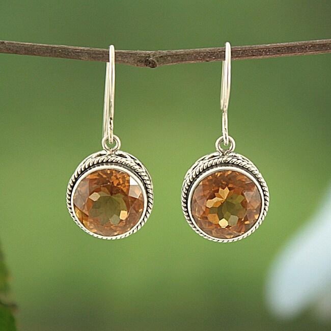 Sterling Silver Citrine Bali Dangle Earrings (Indonesia)