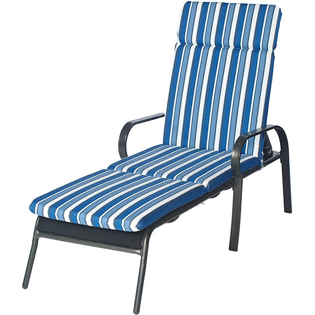 Ali patio outdoor blue stripe chaise lounge cushion free for Blue and white striped chaise lounge cushions