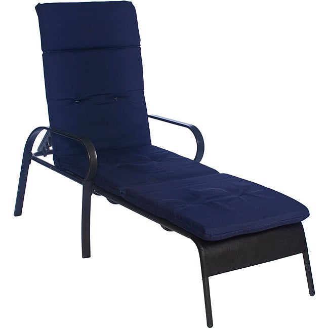 Ali patio outdoor tufted navy blue chaise lounge cushion for Blue chaise lounge cushions