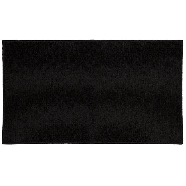 Tufted Berber Rectangle Black Rug (1'8 x 3')
