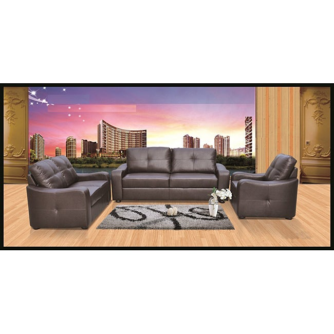 Dashing Brown Faux Leather Sofa and Loveseat Set