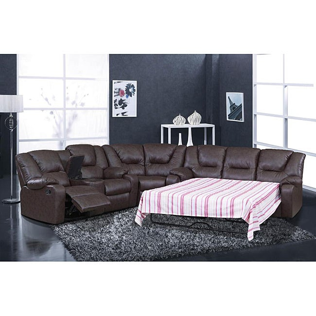 Shop Temper Reclining Sectional Sleeper Free Shipping