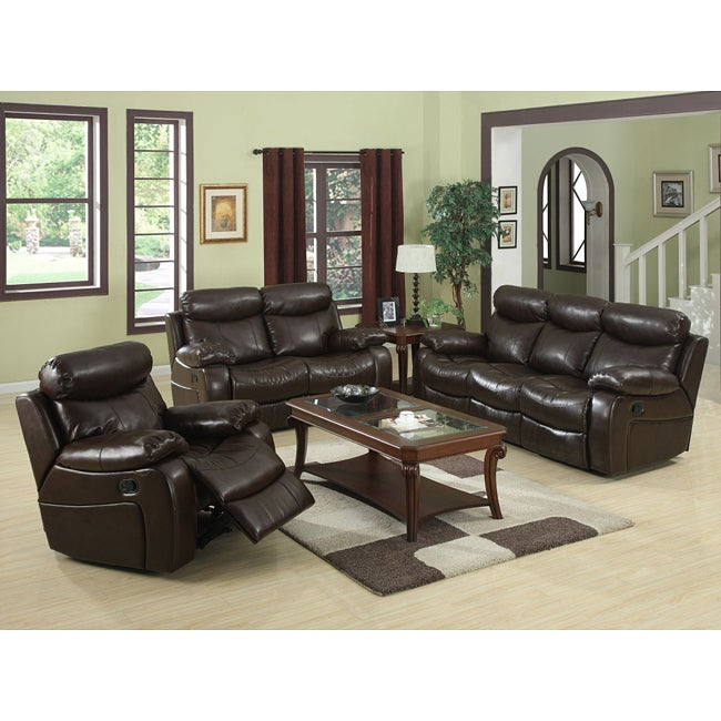 Hilton Brown Reclining Sofa Set