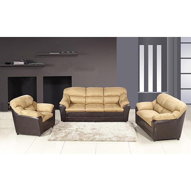 Playa Peach Microfiber Sofa Set
