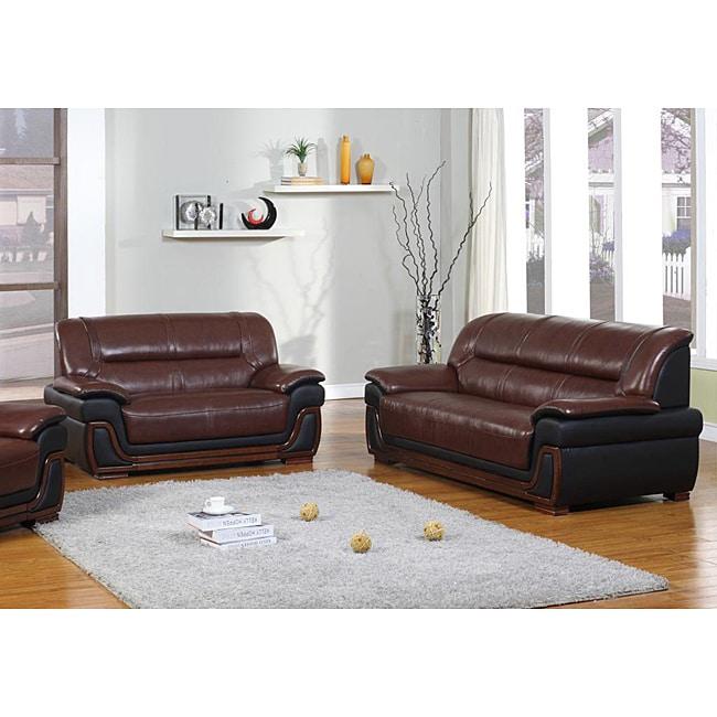 Madison Burgundy/Black Leather Sofa and Loveseat