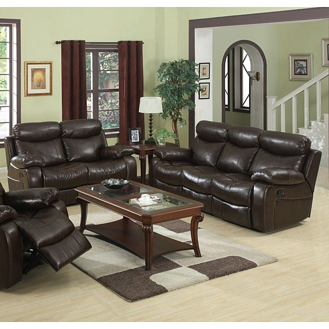 Hilton Brown Reclining Sofa and Loveseat Set