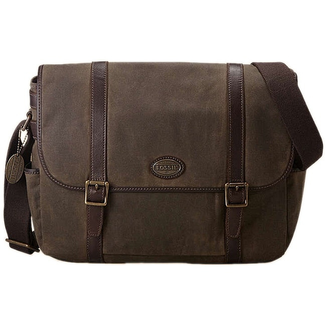 Fossil Men S Estate Canvas Leather Messenger Bag Free Shipping Today 6537153