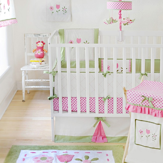 My Baby Sam Tickled Pink 4 Piece Crib Bedding Set Free