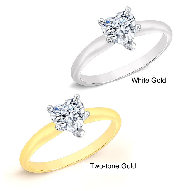 14k Gold 1/2ct TDW Heart Diamond Solitaire Engagement Ring (I-J, I1)