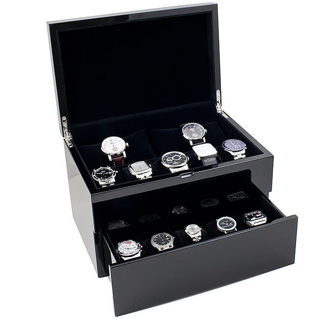 High Gloss Piano Black Solid Top 20-watch Case