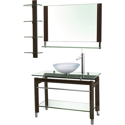 Decolav Wood and Glass Console with Matching Mirror and Shelf - Espresso