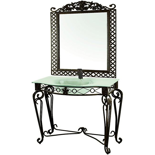 Wrought Iron Vanity decolav wrought iron vanity with sink and matching mirror - free
