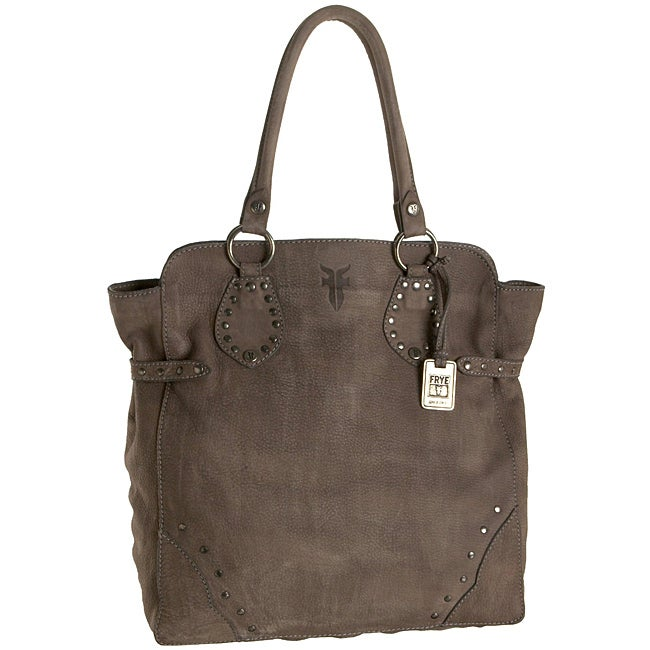 Frye Grey Leather Vintage Studded Tote Bag