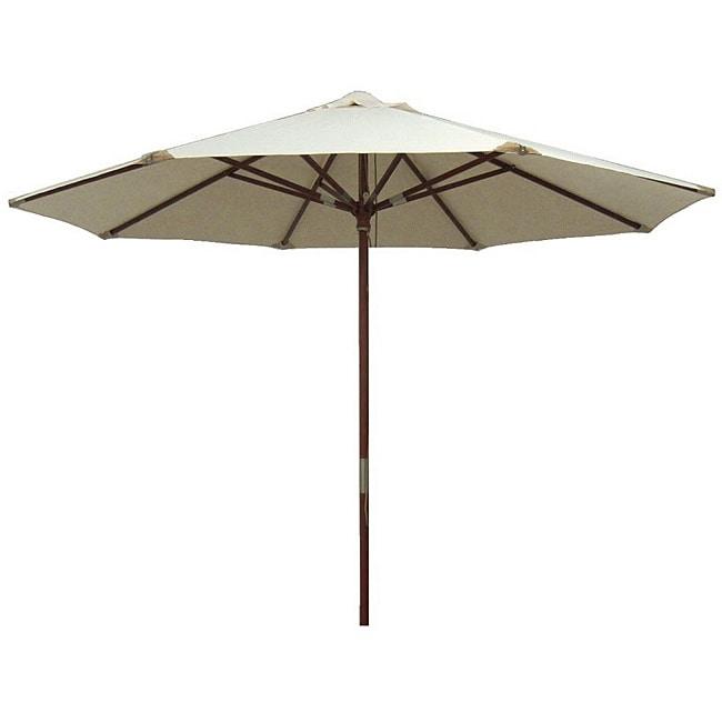 Lauren & Company Premium Natural White Leather Tipped Market Umbrella