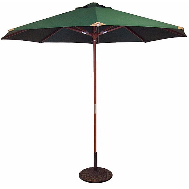 Lauren & Company Hunter Green Leather Tip Market Umbrella with 50-pound Stand
