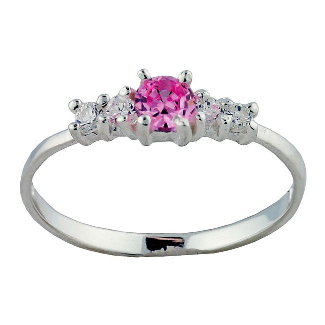 Gioelli Sterling Silver Pink and Clear Cubic Zirconia Baby Ring
