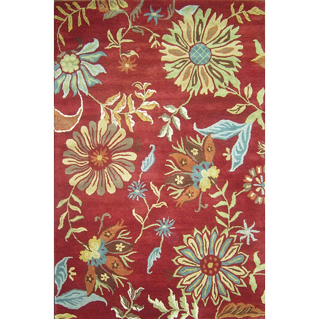 Hand-tufted Antoinette Red Wool Rug (5' x 7'6)