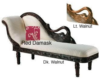 Swan red damask chaise lounge 2 options free shipping for Black and white damask chaise lounge