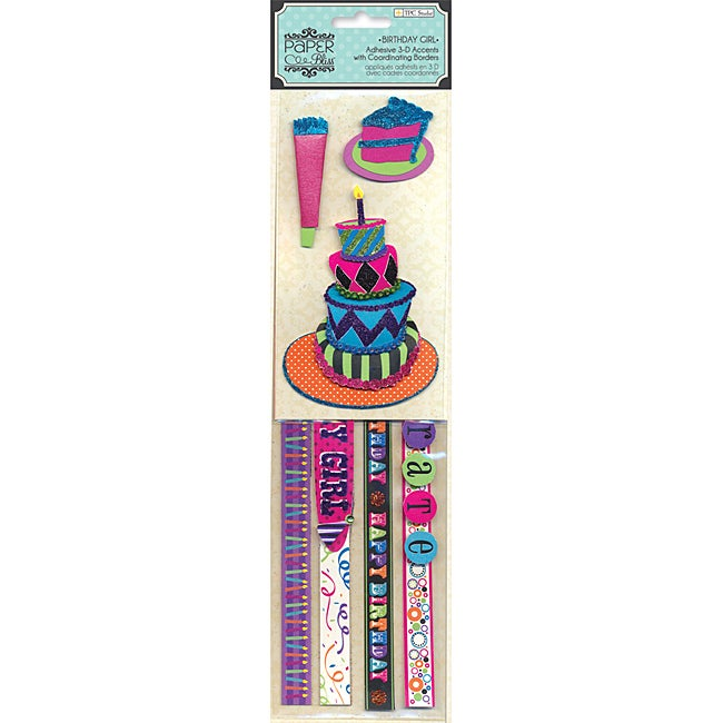 Paper Bliss Duos 'Birthday Girl' 3D Stickers (12x3)