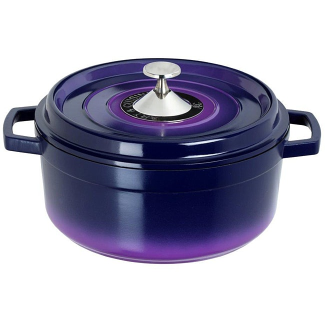 art cuisine cocotte purple 4 4 quart cast aluminium