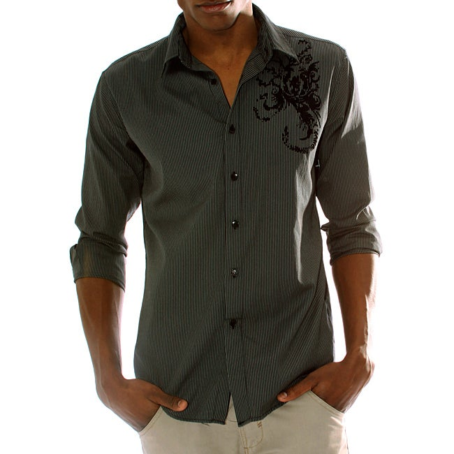 191 Unlimited Men's Black Scorpion Print Shirt