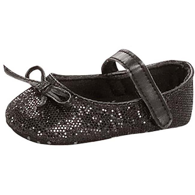 Baby Girl Black Glitter Crib Shoes