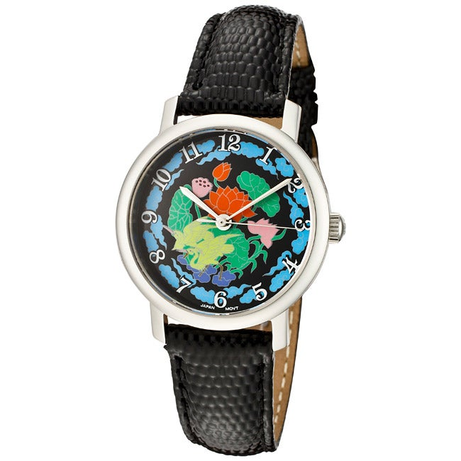 Croton Women's 'Croton' Black Leather Watch - Thumbnail 0