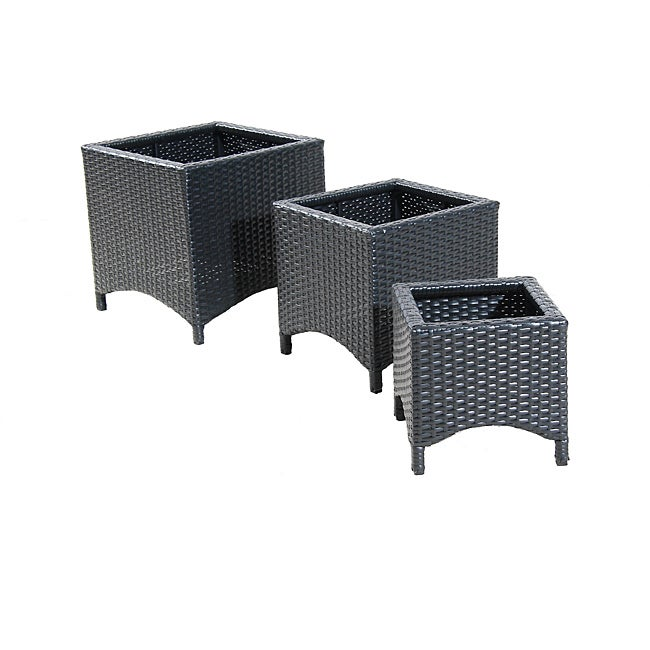 Black Wicker Patio Furniture Planter Stands (Set of 3)