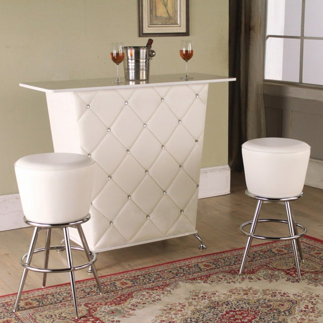 Wooden White Bar Table With Wine Holder