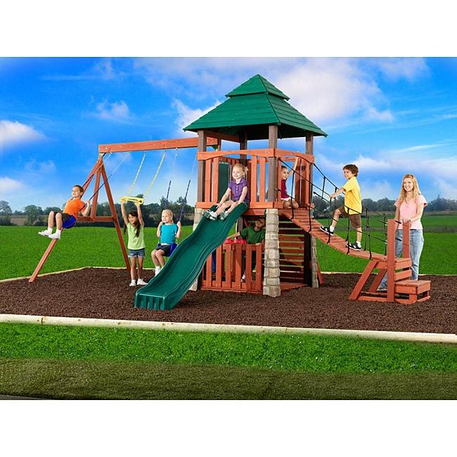 Swing N Slide Sherwood Palace Wood Complete Swing Set