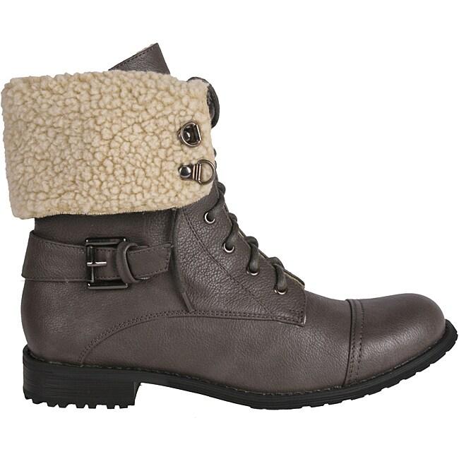 Newway by Beston Women's 'legend-06' Grey Combat Boots