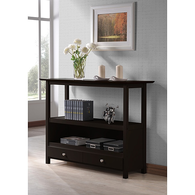 Cappuccino Two Drawer Console Sofa Table Shelf Free Shipping Today