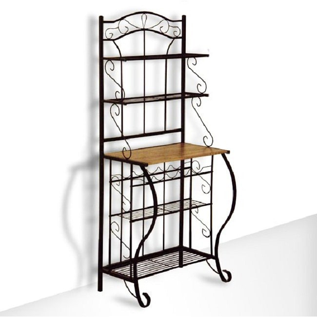 Black Metal and Oak 5-tier Baker Wine Storage Rack Shelf ...