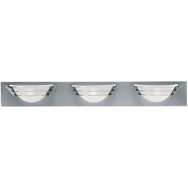 Saturn 3-light Brushed Steel Frosted Glass Wall and Vanity Light