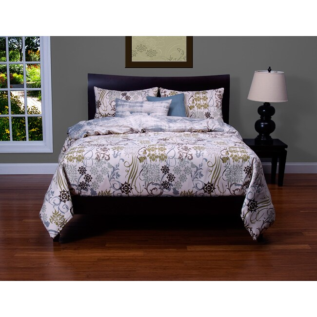 Ornamental 6-piece Queen-size Duvet Cover and Insert Set