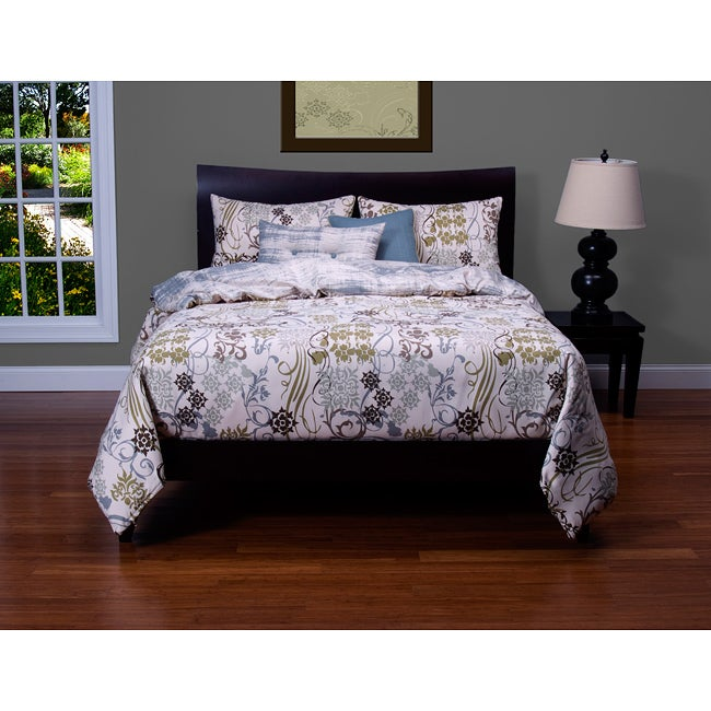 Ornamental 6 Piece Queen Size Duvet Cover And Insert Set