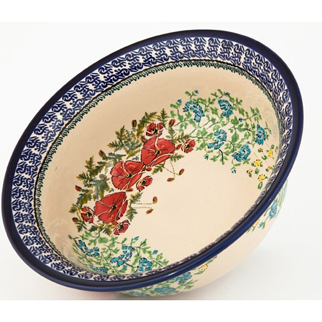 Polish Stoneware Pottery 9.5-inch Flared-top Serving Bowl