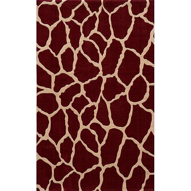 Power-Loomed Giraffe Burgundy Wool Rug (2' x 3')