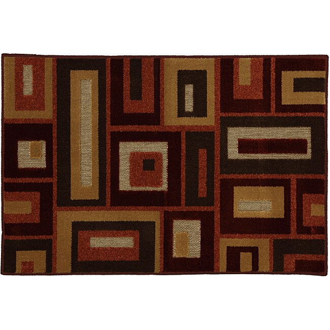 Rectangles Red Olefin Rug (1'8 x 2'10)