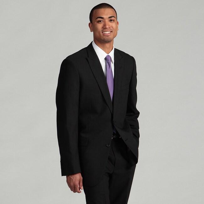 Andrew Marc New York Men's Peak Lapel 2-button Black Wool Suit