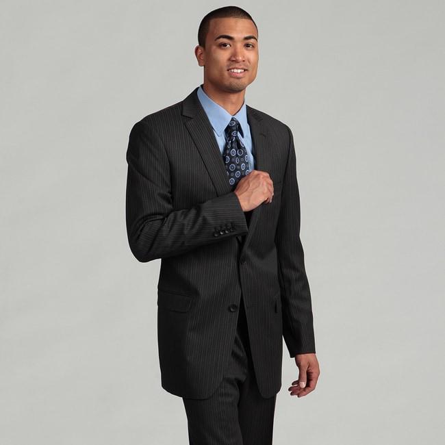 Andrew Marc Men's Grey Striped Wool Suit