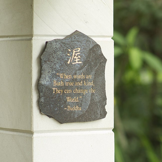 Volcanic Slate 'When Words are Both True' Engraved Plaque (Indonesia)